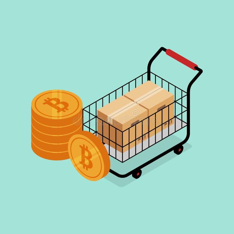 Cryptocurrency i bitcoin cyfrowy marketingowy nowożytny biznesowy pojęcie royalty ilustracja