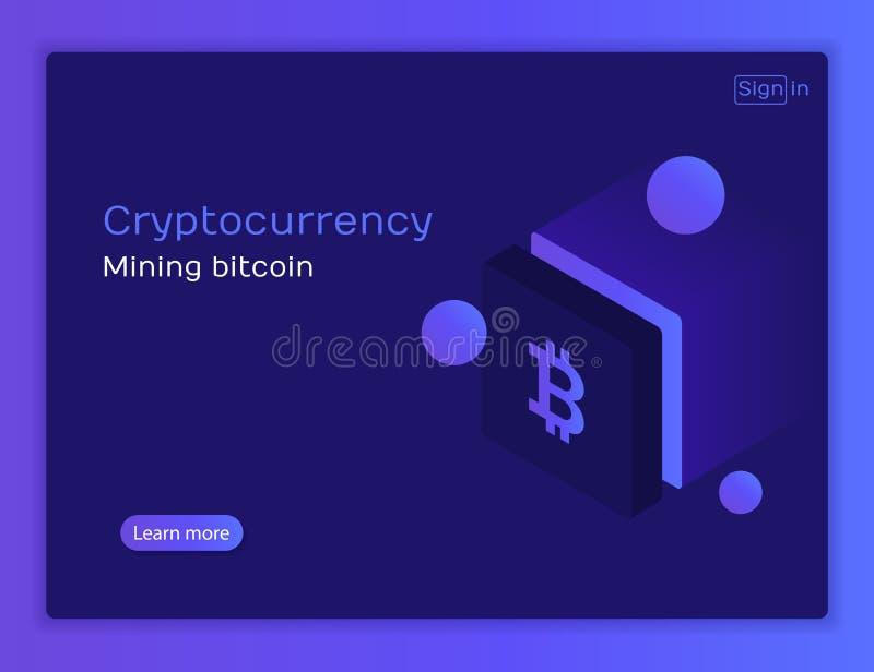 Cryptocurrency i blockchain Bitcoin kopalnictwa gospodarstwo rolne ilustracji