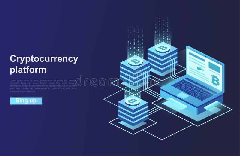 Cryptocurrency i blockchain Estradowy tworzenie cyfrowa waluta Sieci biznes, analityka i zarządzanie, ilustracja wektor