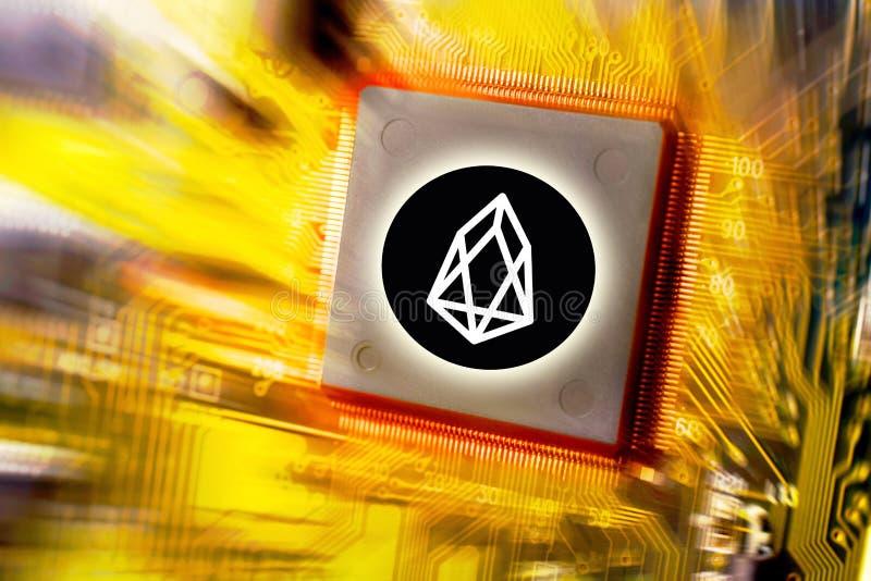 Cryptocurrency i blockchain obwód deski kopalnictwo i monety EOS - pieniężny technologii i interneta pieniądze - fotografia royalty free