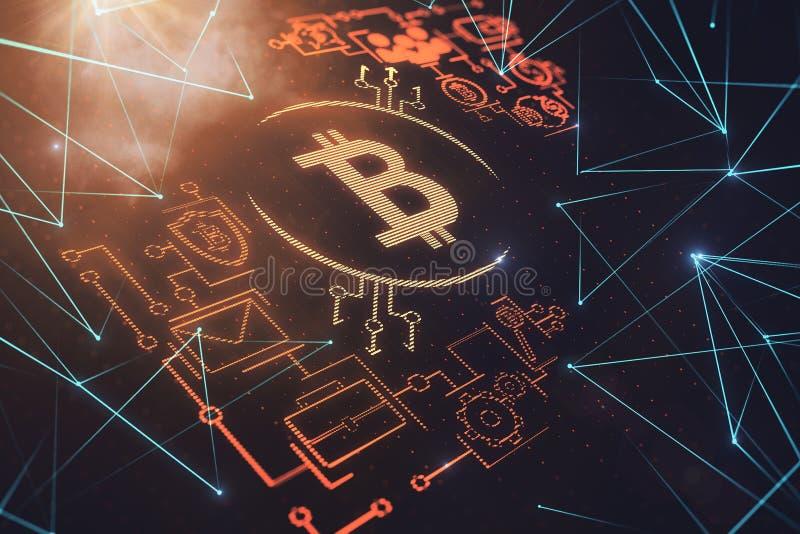 Cryptocurrency i handlu elektronicznego tło royalty ilustracja