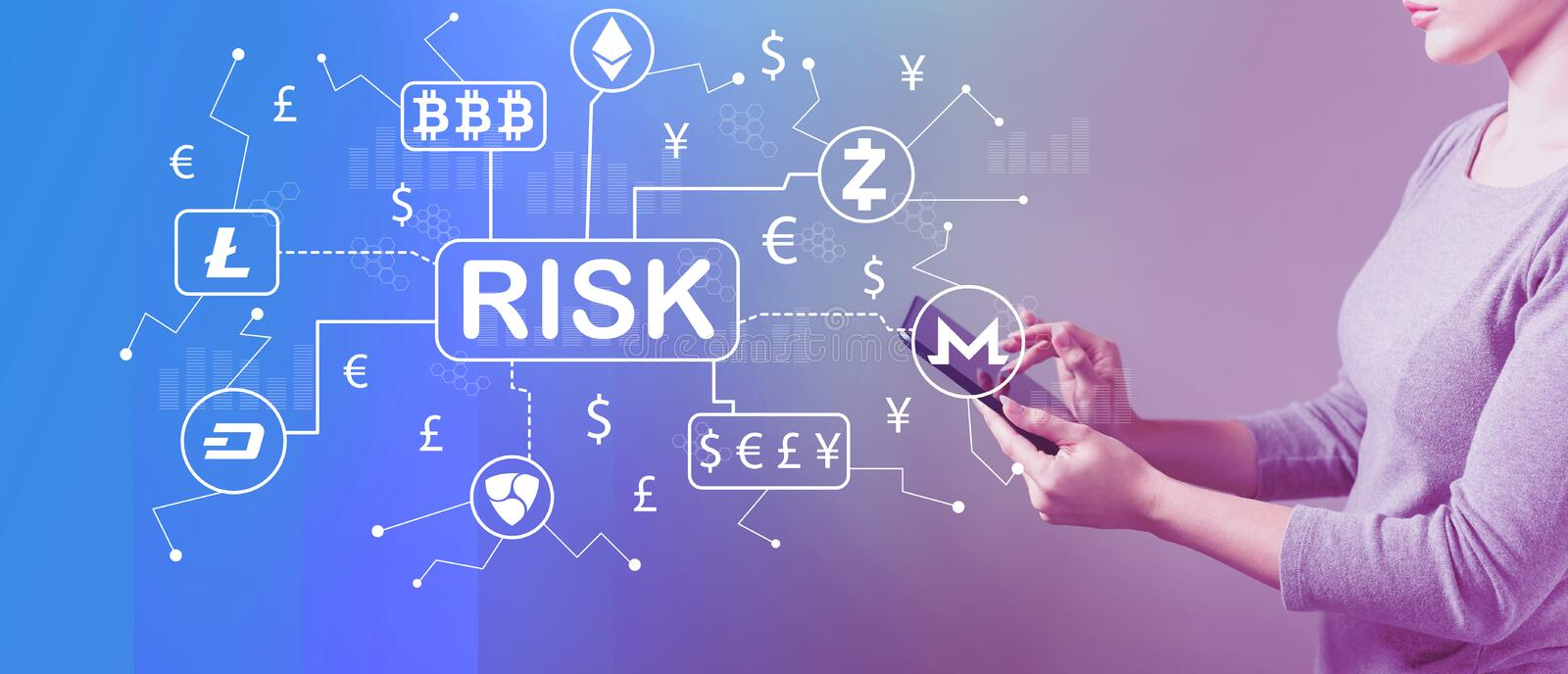 Cryptocurrency ICO risk theme with woman using a tablet. Cryptocurrency ICO risk theme with business woman using a tablet computer royalty free illustration
