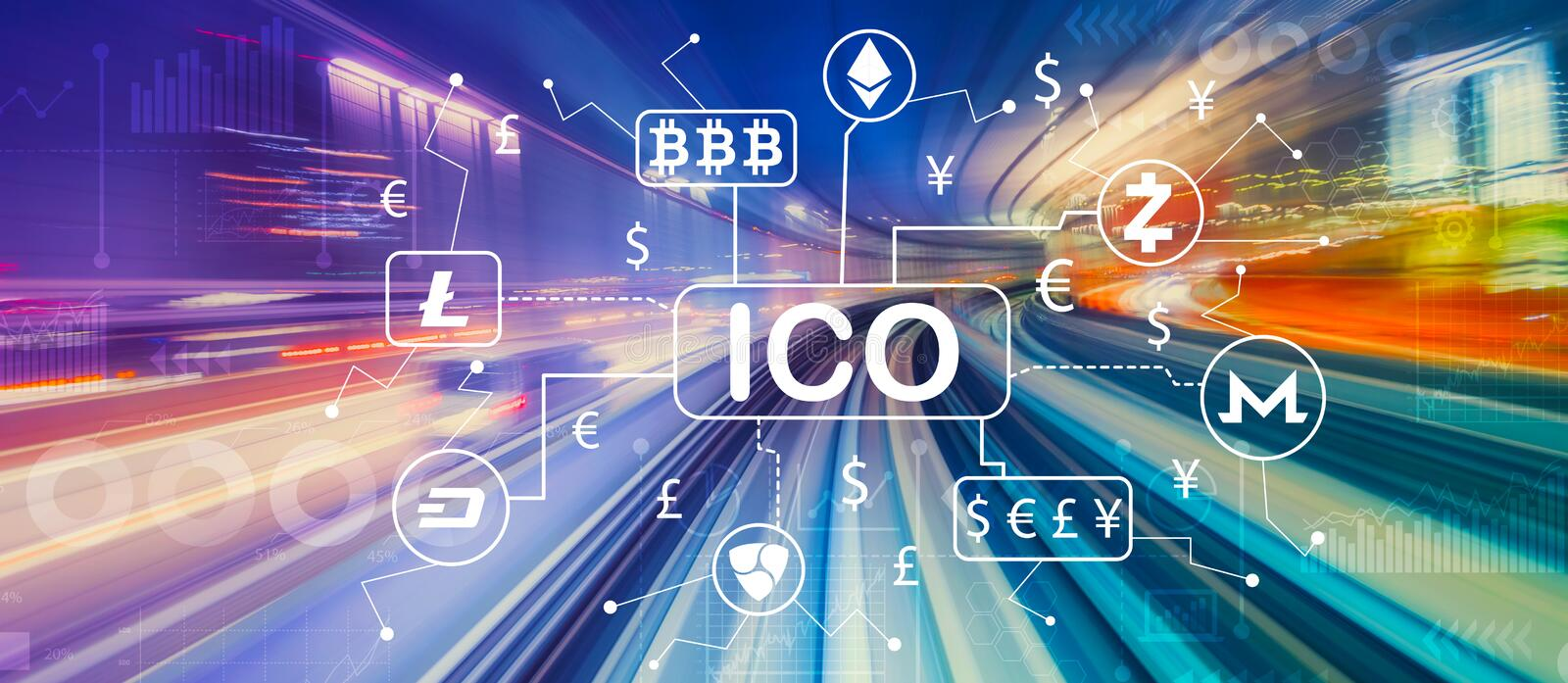 Cryptocurrency ICO theme with high speed motion blur royalty free illustration