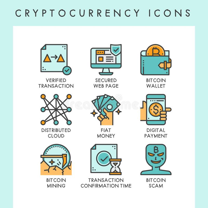 Cryptocurrency icons concept illustrations. For web, app, website, report, presentation, etc stock illustration