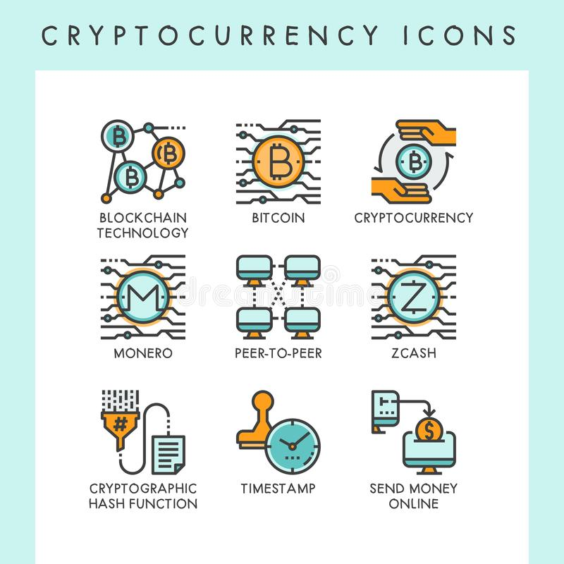 Cryptocurrency icons concept illustrations. For web, app, website, report, presentation, etc vector illustration