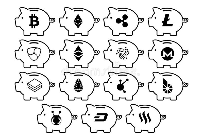 Cryptocurrency Icons On Piggy Banks Isolated vector illustration