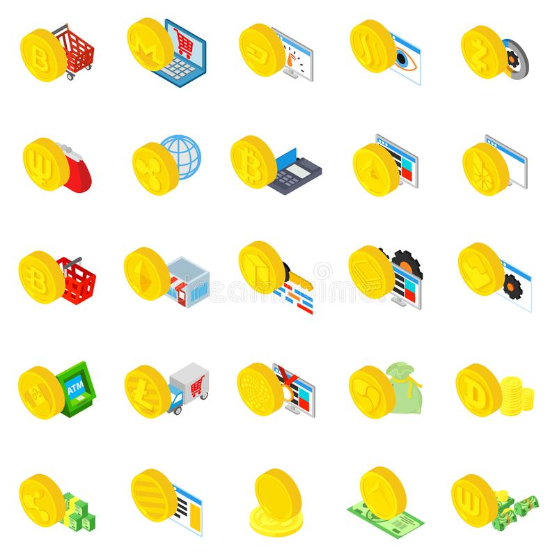 Cryptocurrency icons set, isometric style vector illustration