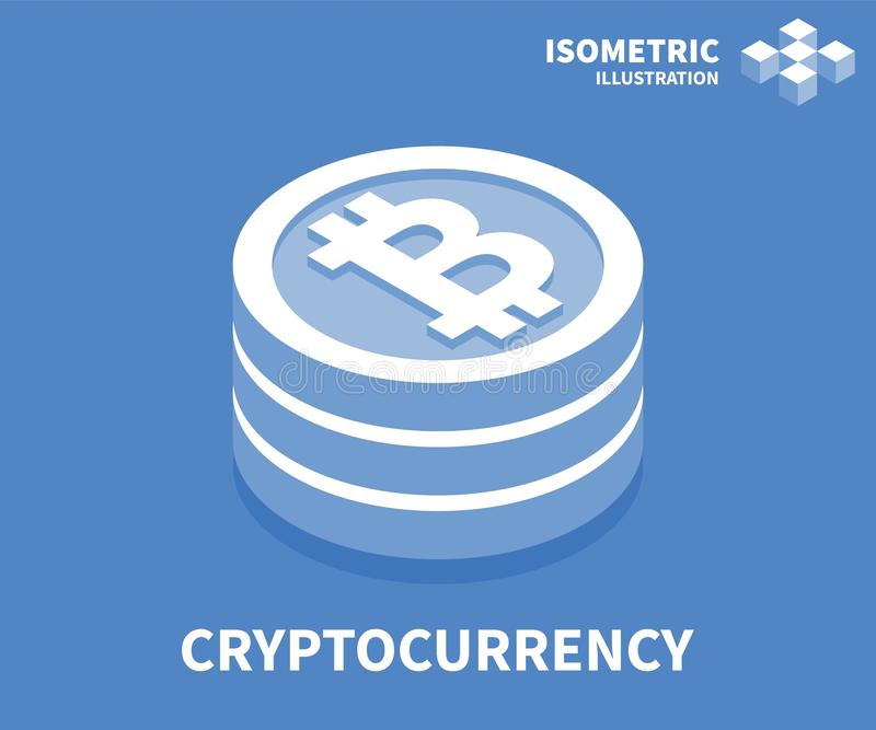 Cryptocurrency-Ikone Isometrische Schablone für Webdesign in der flachen Art 3D Auch im corel abgehobenen Betrag lizenzfreie abbildung