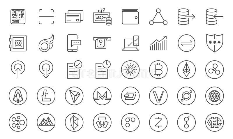 Cryptocurrency ikony handlarski set Zawrzeć ikony jak crypto monety, cyfrowy rynek walutowy, online handel, Blockchain, cyfrowy w ilustracja wektor