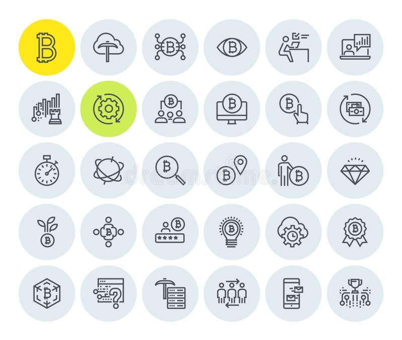 Cryptocurrency ikony inkasowe ilustracja wektor