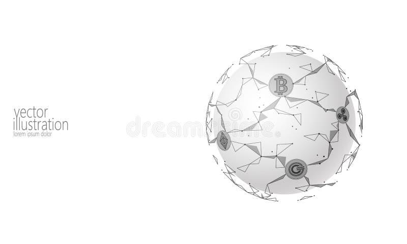 Cryptocurrency internacional global del bitcoin Del planeta del espacio diseño futuro moderno polivinílico de las actividades ban stock de ilustración