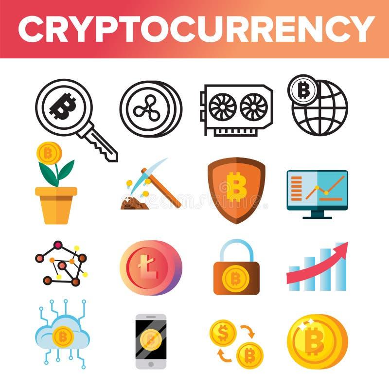 Cryptocurrency invente le vecteur d'ensemble d'icône Crypto argent liquide garantie Argent d'or Sig virtuel de extraction Marché  illustration de vecteur