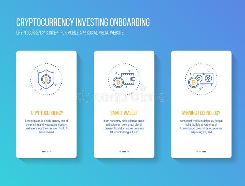 Cryptocurrency inwestuje onboarding mobilnego app walkthrough ekranizuje nowożytnego, czystego i prostego pojęcie, Wektorowy ilus royalty ilustracja