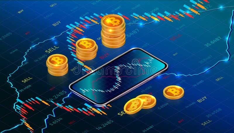Cryptocurrency inwestycji lub giełda papierów wartościowych pojęcie z mobilnym app Cyfrowego pieniądze rynek ilustracja wektor