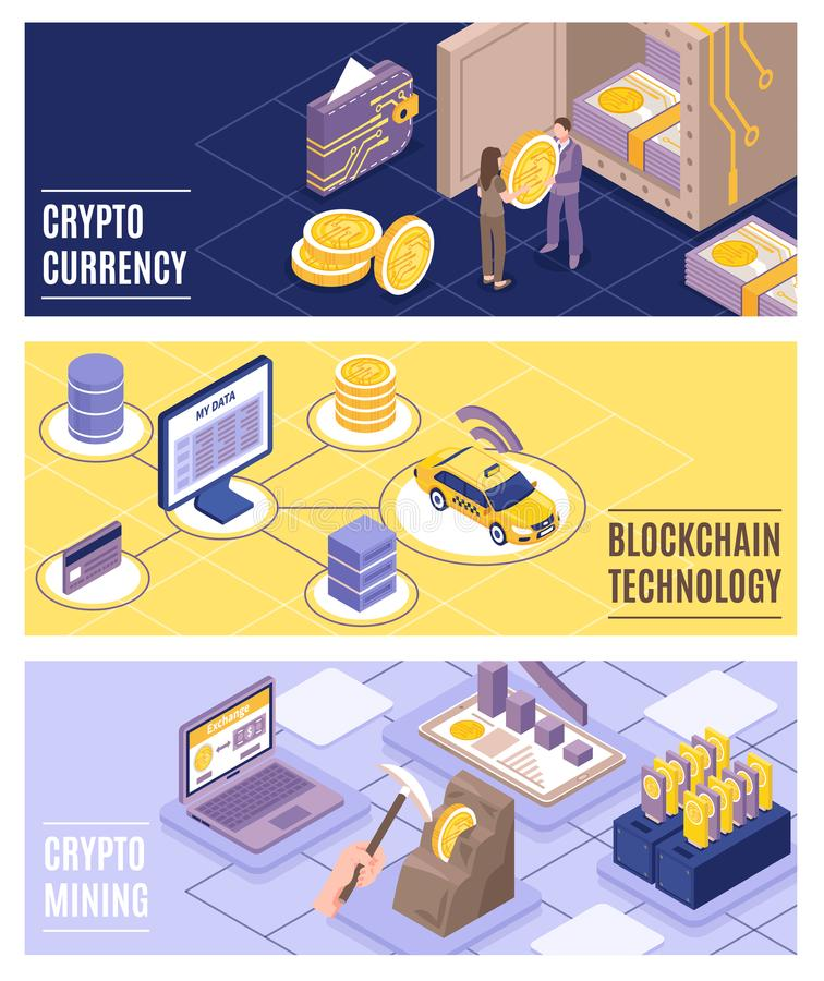 Cryptocurrency Isometric Banners Set stock illustration