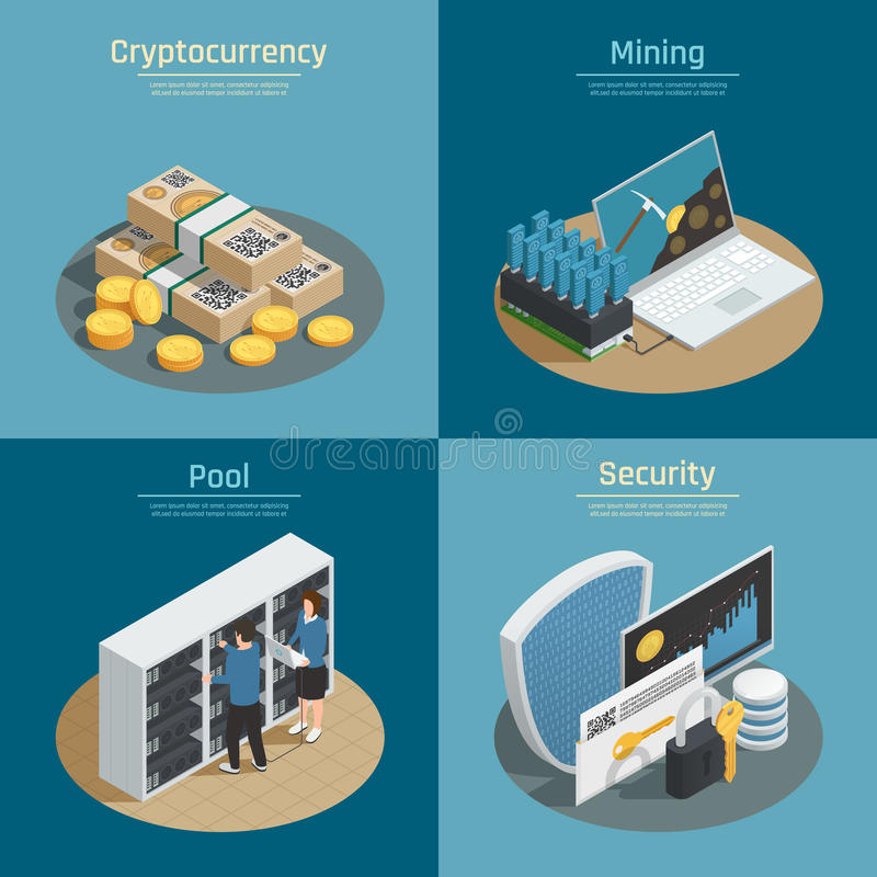 Cryptocurrency Isometric Compositions stock illustration