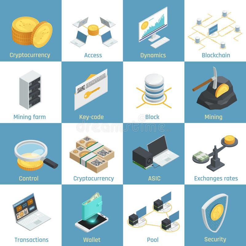 Cryptocurrency Isometric ikony ilustracja wektor