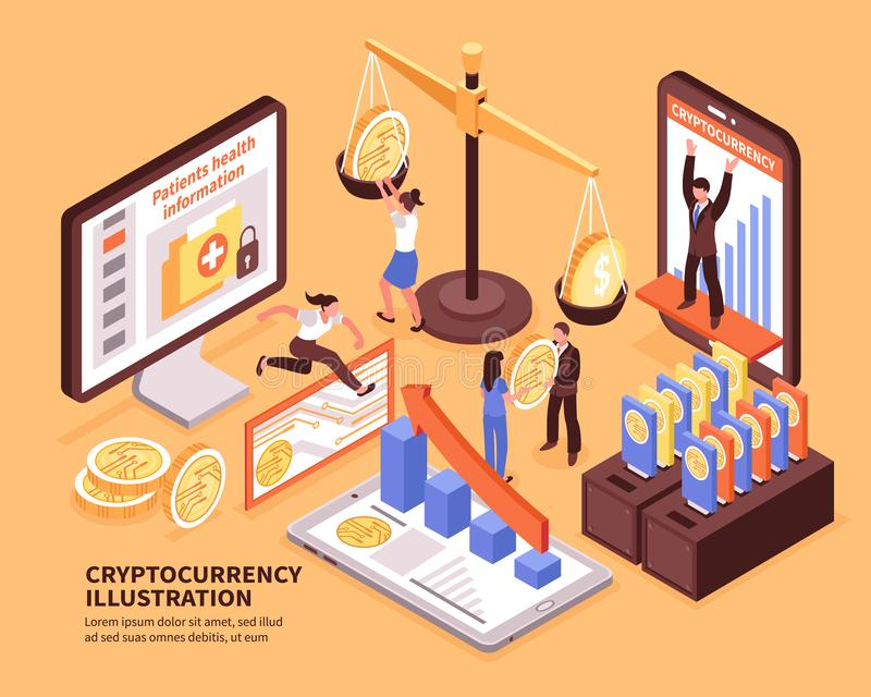 Cryptocurrency Isometric ilustracja ilustracja wektor