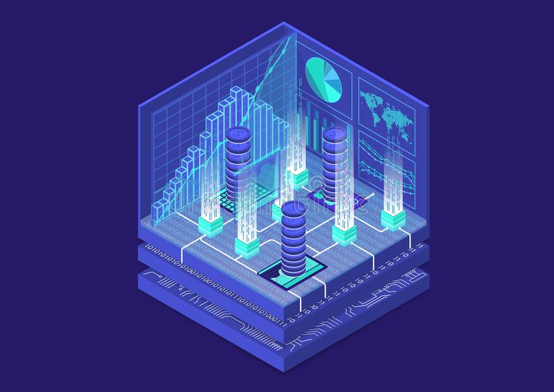 Cryptocurrency isometric vector illustration. Abstract 3D infographic for financial technology.  stock illustration