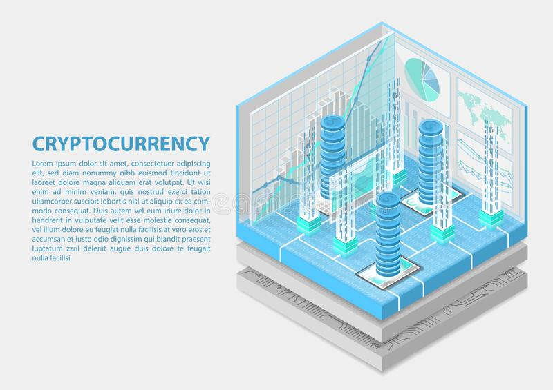 Cryptocurrency isometric vector illustration. Abstract 3D infographic for financial technology.  royalty free illustration