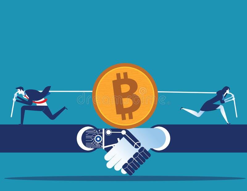 Cryptocurrency Konkurrens för affärsfolk för att bryta för bitcoin Illustration f?r begreppsaff?rsvektor vektor illustrationer