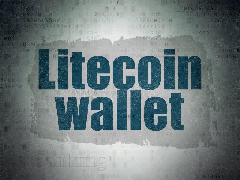 Cryptocurrency-Konzept: Litecoin-Geldbörse auf Digital-Daten-Papierhintergrund stockbild