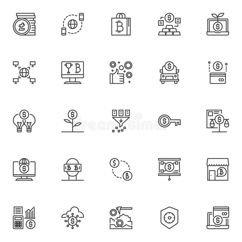 Cryptocurrency kopalnictwa konturu ikony ustawiać ilustracji