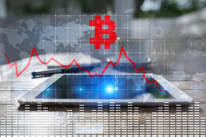 Cryptocurrency kris på den faktiska skärmen Bitcoin och Ethereum nedgångar fotografering för bildbyråer