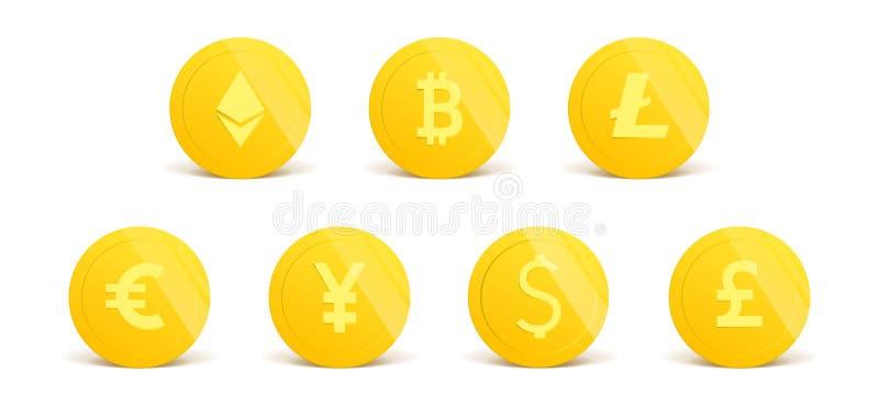 Cryptocurrency les pièces d'or 3d réalistes ont placé sur le blanc dans différentes positions Argent d'isolement sur le blanc Vec illustration de vecteur
