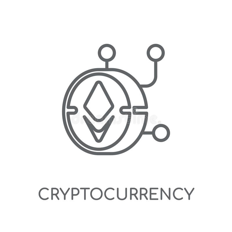Cryptocurrency linear icon. Modern outline Cryptocurrency logo c royalty free illustration