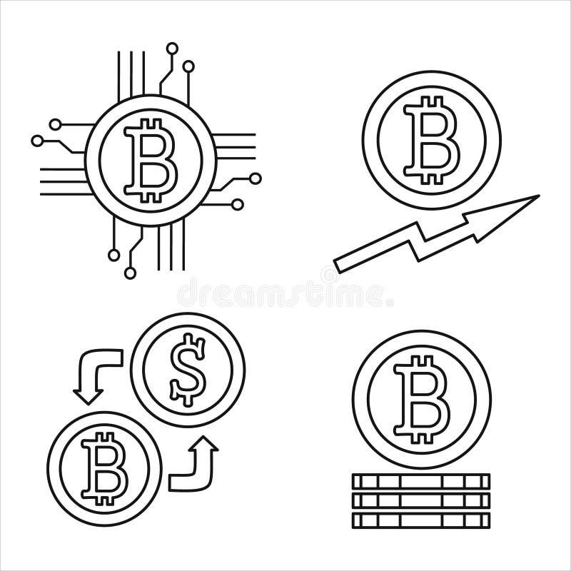 Cryptocurrency-Linie Ikonensatz Bitcoin stock abbildung