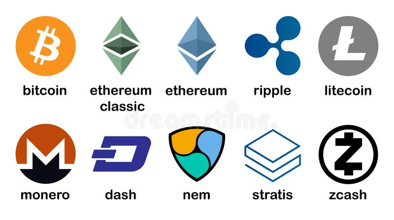Cryptocurrency logo set - bitcoin, litecoin, ethereum, ethereum classic, monero, ripple, zcash, dash, stratis, nem royalty free illustration