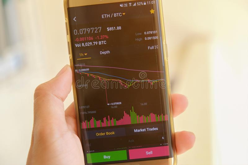 Date StampCryptocurrency market graph screen on smartphone buy and sell button and hand with blur background. Blockchain , Fintech. Cryptocurrency market graph stock photos