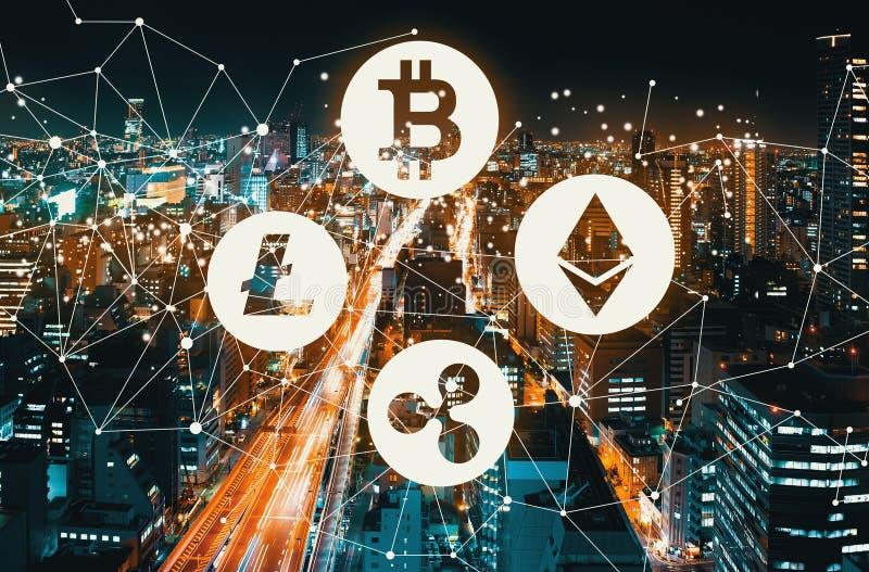 Cryptocurrency med en massiv huvudväg arkivfoto