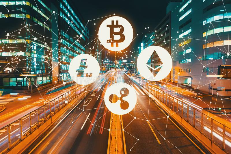 Cryptocurrency med suddig trafik för rörelse royaltyfria bilder