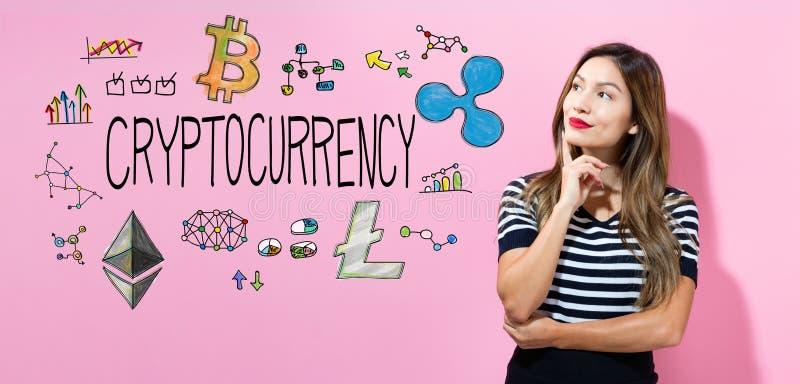 Download Cryptocurrency Met Jonge Vrouw Stock Foto - Afbeelding bestaande uit concept, financieel: 107706370