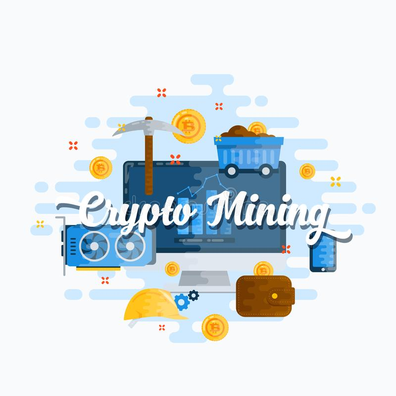 Cryptocurrency Mining Abstract Vector Flat Style Modern Illustration. Bitcoin Digital Currency, Mining Tools stock illustration