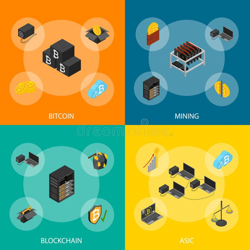 Cryptocurrency Mining Blockchain 3d Banner Set Isometric View. Vector. Cryptocurrency Mining Blockchain 3d Banner Set Isometric View Include of Farm, Wallet stock illustration