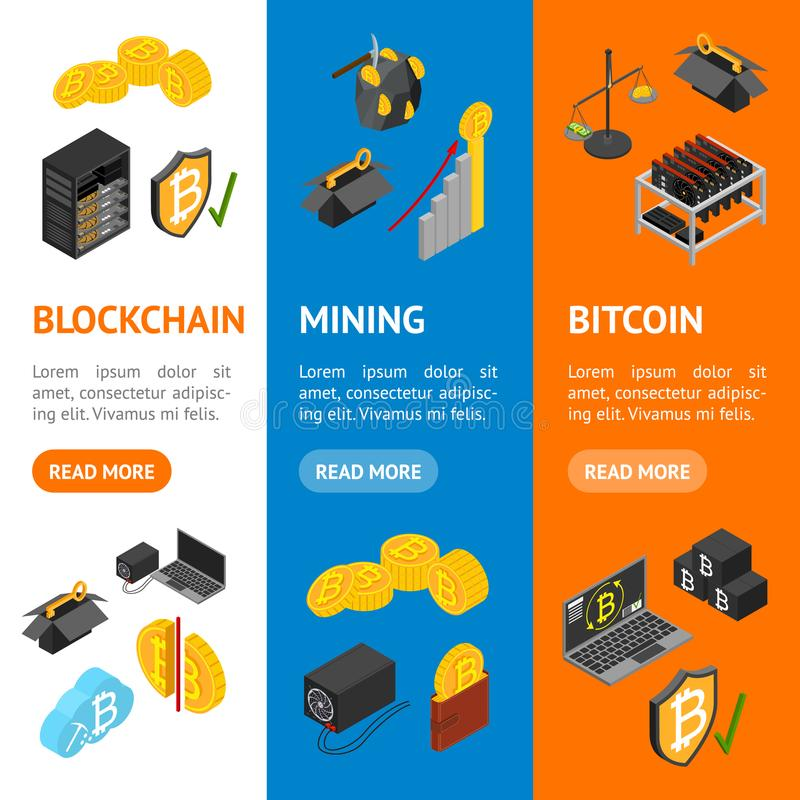 Cryptocurrency Mining Blockchain 3d Banner Vecrtical Set Isometric View. Vector royalty free illustration