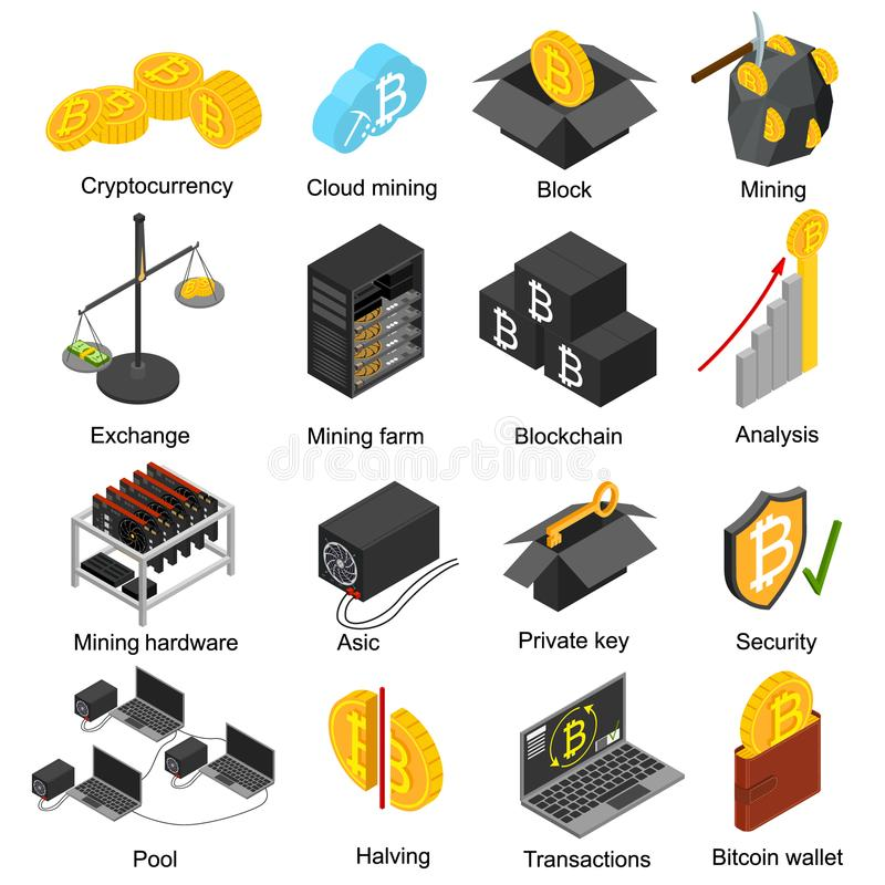Cryptocurrency Mining Blockchain 3d Icons Set Isometric View. Vector. Cryptocurrency Mining Blockchain 3d Icons Set Isometric View Include of Farm, Wallet royalty free illustration