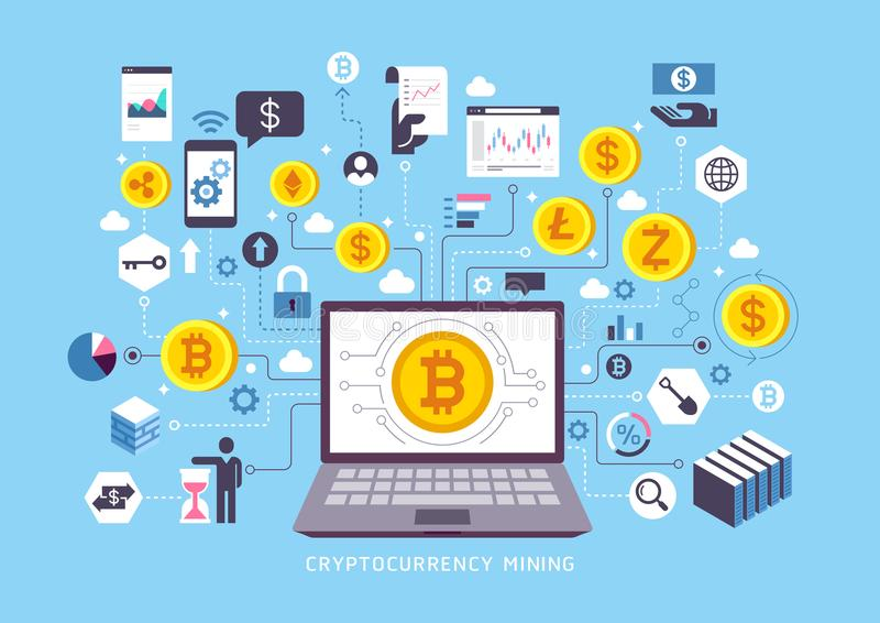 Cryptocurrency mining conceptual design. royalty free illustration