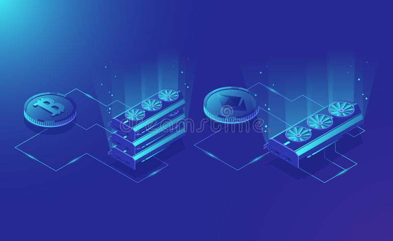 Cryptocurrency mining equipment, isometric ethereum digital currency extract, blockchain system dark blue vector royalty free illustration