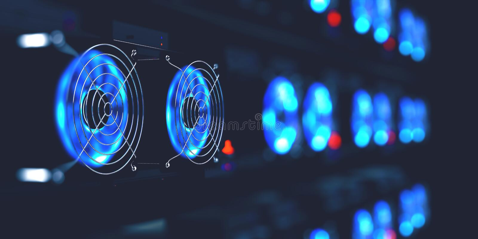 Cryptocurrency mining farm. 3d illustration of abstract cyberspace Blockchain royalty free illustration