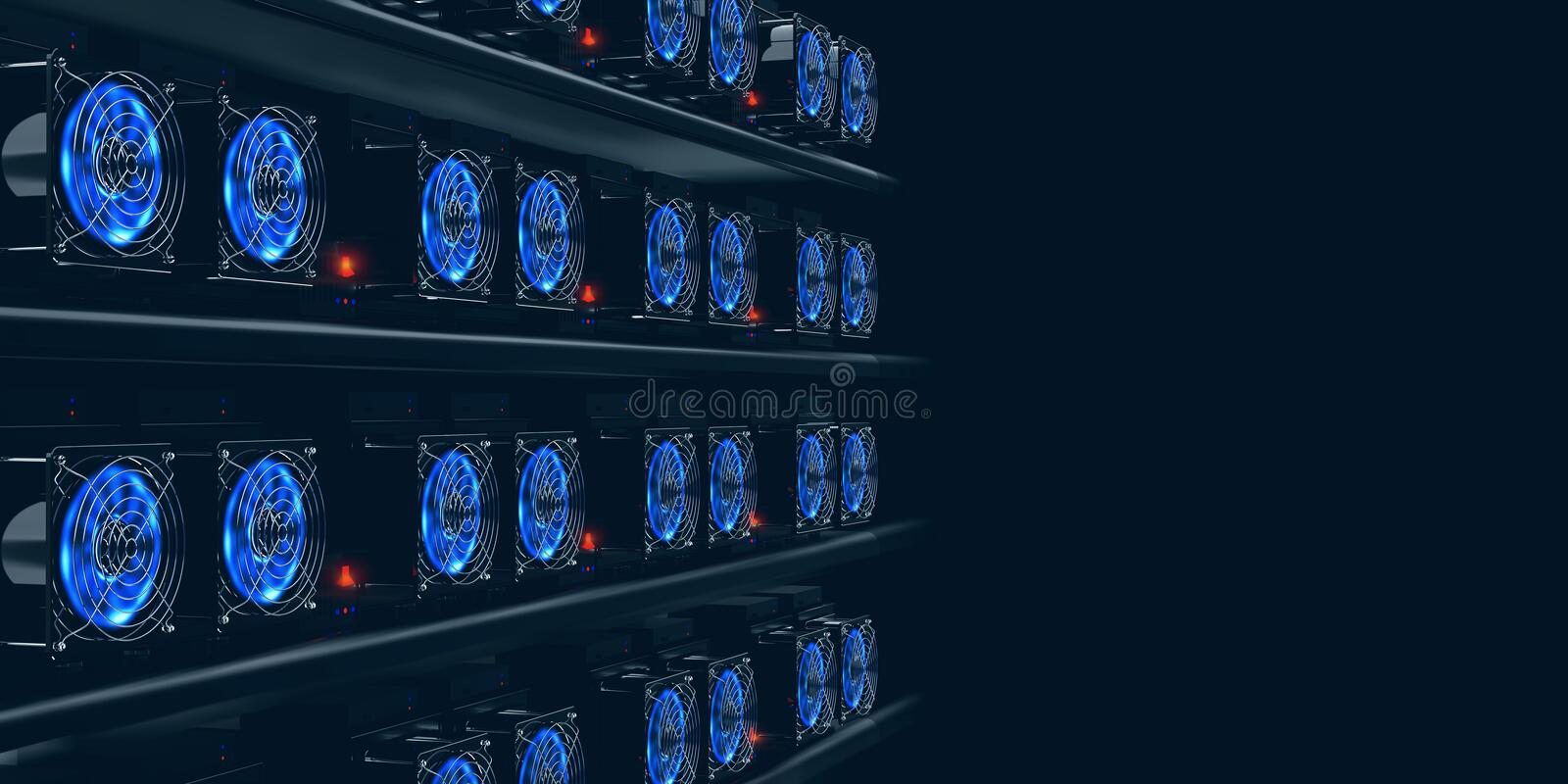 Cryptocurrency mining farm. 3d illustration of abstract cyberspace Blockchain. On a dark background stock illustration