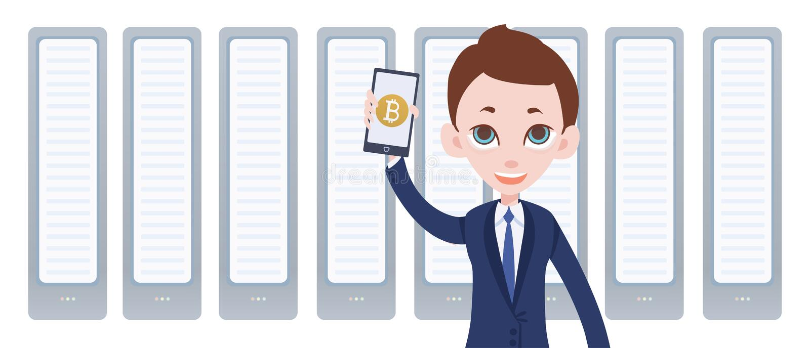 Cryptocurrency mining farm and man with smartphone in hand. Mobile bitcoin wallet app. Vector illustration by flat style. In white background royalty free illustration