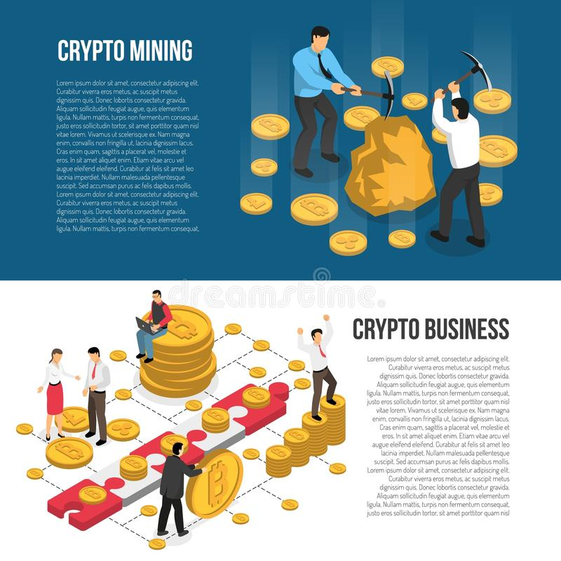 Cryptocurrency Mining Business Isometric Banners stock illustration