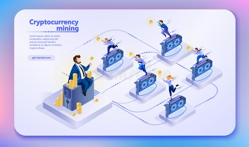Cryptocurrency Mining. Vector Illustration. vector illustration