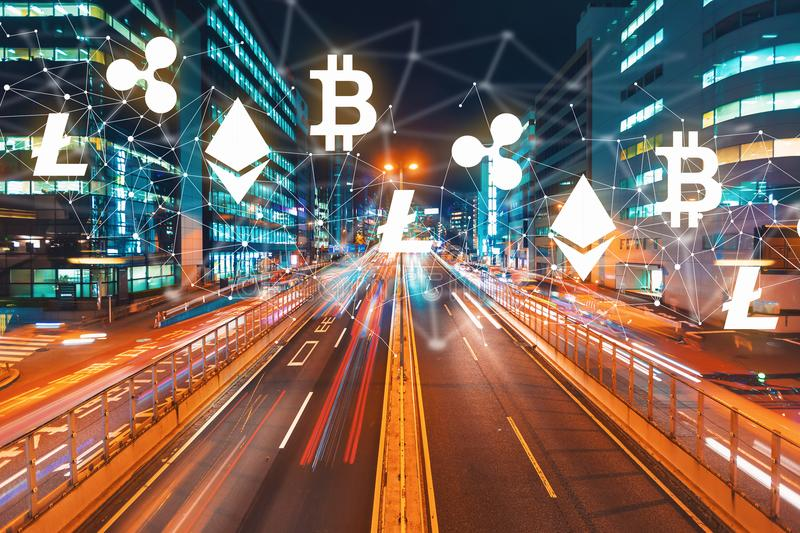 Cryptocurrency with motion blurred traffic royalty free stock photos