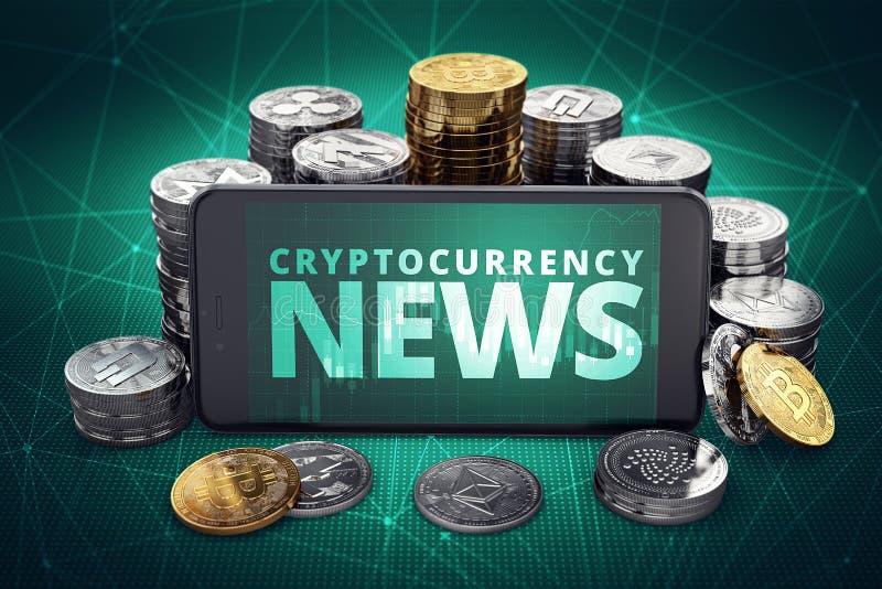 Cryptocurrency-Nachrichtentext auf dem Smartphoneschirm umgeben durch Stapel von verschiedenen Schlüsselmünzen Titelschirm für ne vektor abbildung