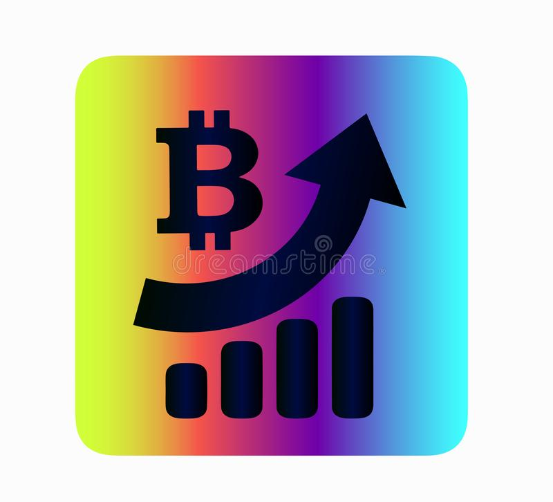 Bitcoin internet currency rate neon vector icon. Cryptocurrency neon vector icon bitcoin isolated. Iconography of currency exchange rate growth. Business and vector illustration